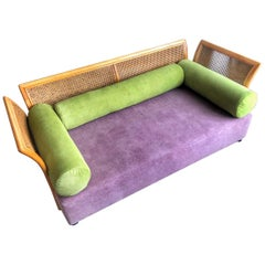 Cane Settee Purple Green New Upholstery, Mid-Century Modern, Italy