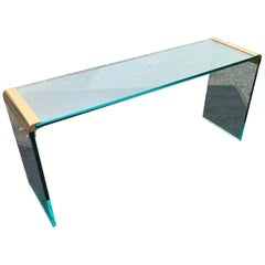Narrow Mid-Century Modern Brass Glass Top Waterfall Console Table by Pace