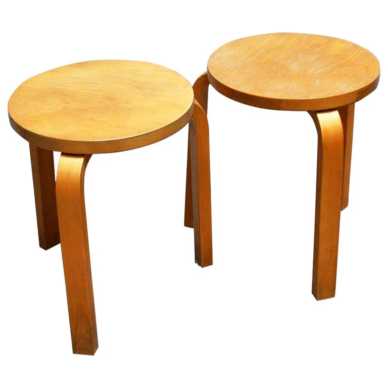 Brilliant Pair Of Vintage Stool Model No E60 By Alvar Aalto For Andrewgaddart Wooden Chair Designs For Living Room Andrewgaddartcom
