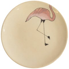 Small Handmade Ceramic Plates with Pink Flamingo Illustration