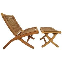 Mid-Century Modern Folding Rope Chair