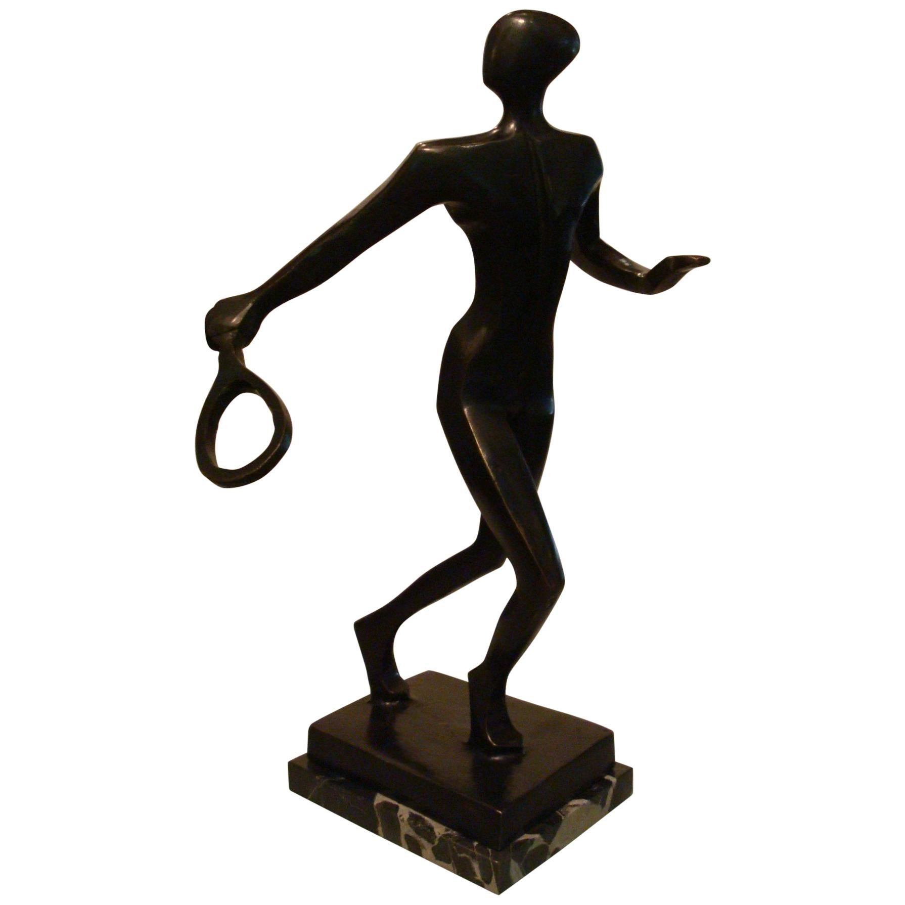 20th Century Tennis Player Bronze Sculpture / Trophy, Italy, 1930s