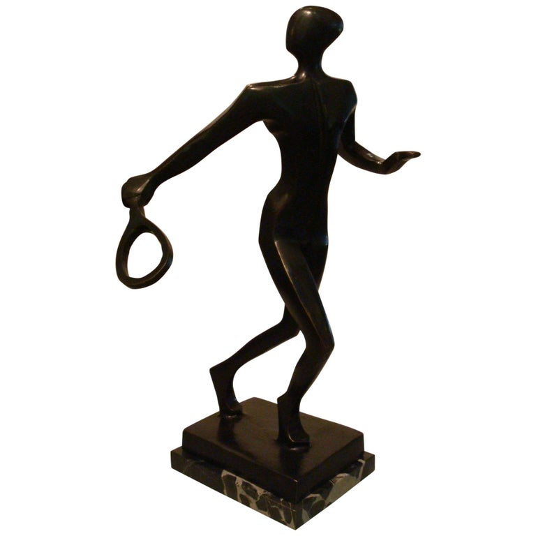 20th Century Tennis Player Bronze Sculpture / Trophy, Italy, 1930s For Sale