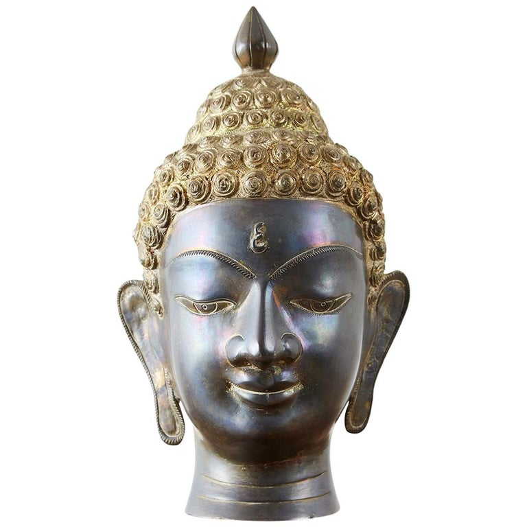 Sukhothai Style Bronze Metal Buddha Head For Sale