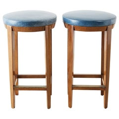 Pair of Dessin Fournir Leather Mahogany Bar Stools