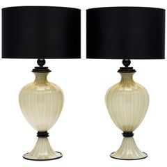 Black and Gray Murano Glass Lamps