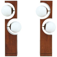 Midcentury 2-Globe Geometric Table Lamps by Modeline