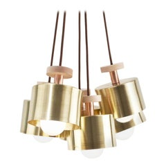 Spun Pendant Light Five-Piece Cluster Polished Brass