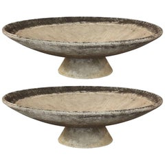 Large Willy Guhl Garden Stone Planters on Stands (Dia 59)  'Individually Priced'