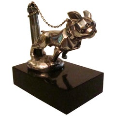 Art Deco Car Mascot, Chained French Bulldog, Hood Ornament, France 1920s