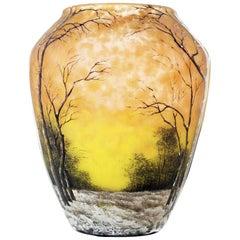 Daum Winter Scene Vase, Signed Daum Nancy