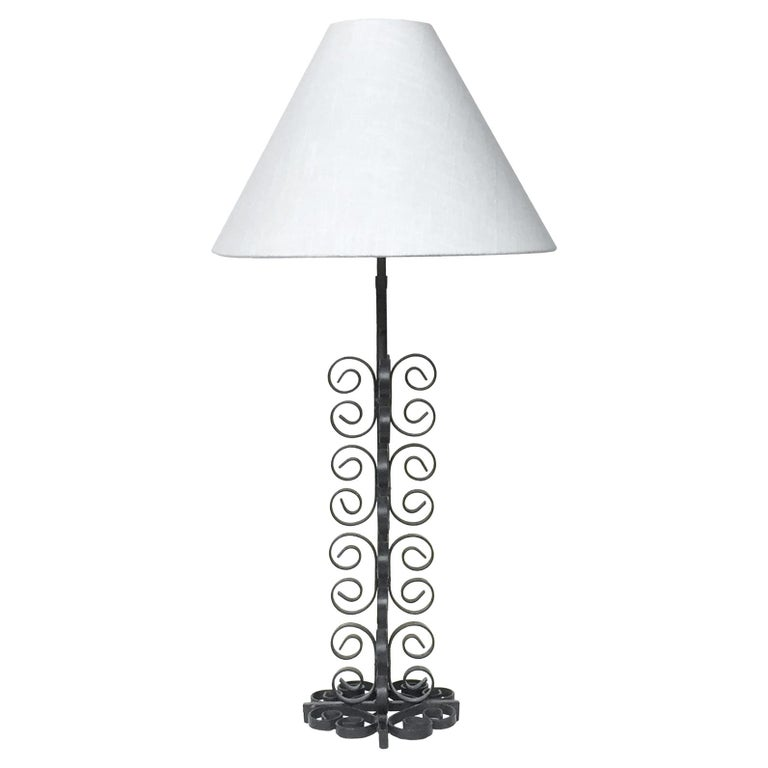 Mid 20th Century Wrought Iron Table Lamp In The Style Of Paul Kiss