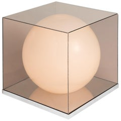 Opaline & PlexiGlass Table Lamp, Italy circa 1960