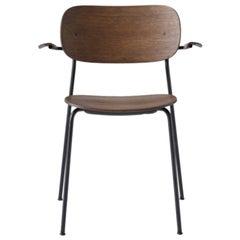 Co Chair, Wood Seat with Armrest, Dark Oak Seat/Black Legs