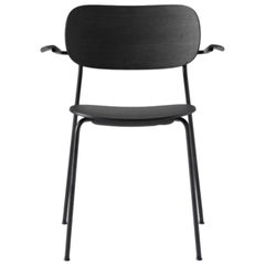 Co Chair, Wood Seat with Armrest, Black Oak Seat/Black Legs