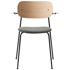 Co Chair, Wood Seat with Armrest, Natural Oak Seat 'Grey 130' /Black Legs
