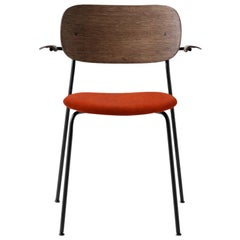 Co Chair, Wood Seat with Armrest, Dark Stained Oak Seat 'Red' /Black Legs