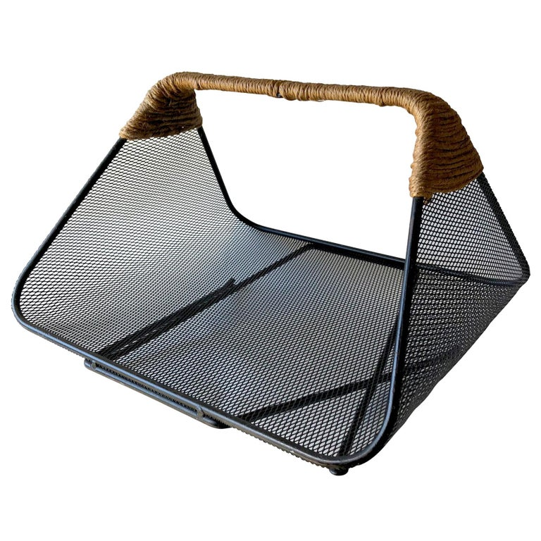 Tony Paul for Woodlin-Hall Iron Rush Wrapped Handle Log Holder or Magazine Rack For Sale