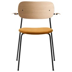 Co Chair, Wood Seat with Armrest, Natural Oak Seat, Orange /Black Legs