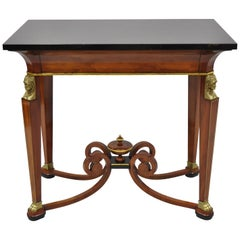 John Widdicomb French Empire Figural Bronze-Mounted Occasional Lamp Table