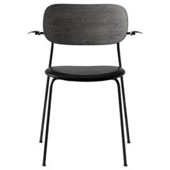 Co Chair, Armrest, Dakar Black 0842 Seat, Black Oak Back & Arms