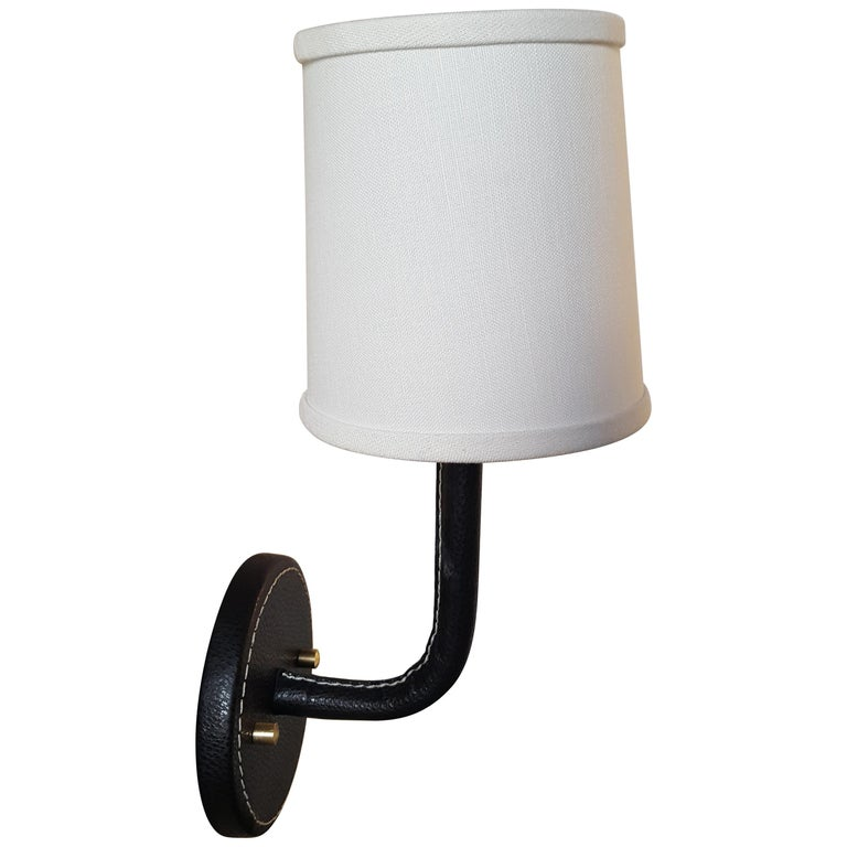 Paul Marra Top-Stitched Leather Wrapped Sconce For Sale