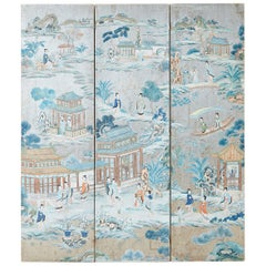 Chinese Qing Three-Panel Silver Leaf Painted Screen