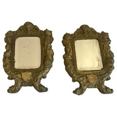 Pair of 19th Century Italian Mirrors in Ornate Brass Frames