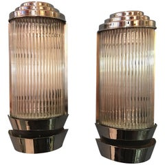 Large Nickel-Plated Deco Sconces with Glass Rods