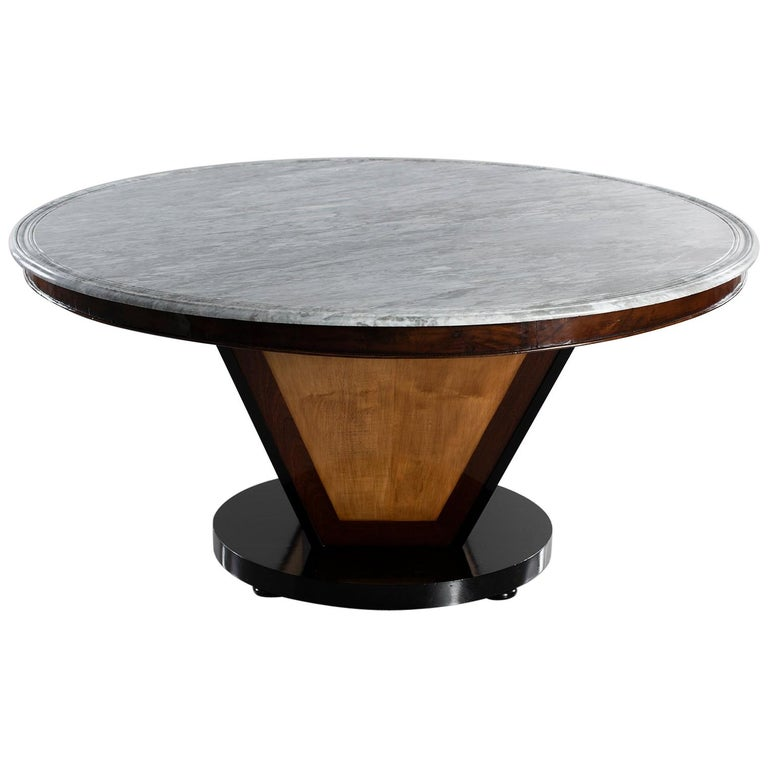 Deco-Inspired Italian Marble Dining Table with Custom Made Base For Sale