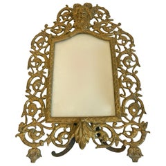 Vintage Ornate Brass Picture Frame with Bacchus at the Top