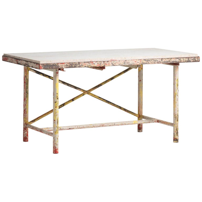 Marble Laboratory Table, France, circa 1920 For Sale
