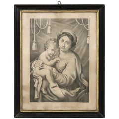 19th Century Italian Lithograph, Print Madonna with Jesus Child