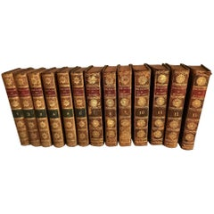 Set of 13 Volumes Antique Red Leather Books