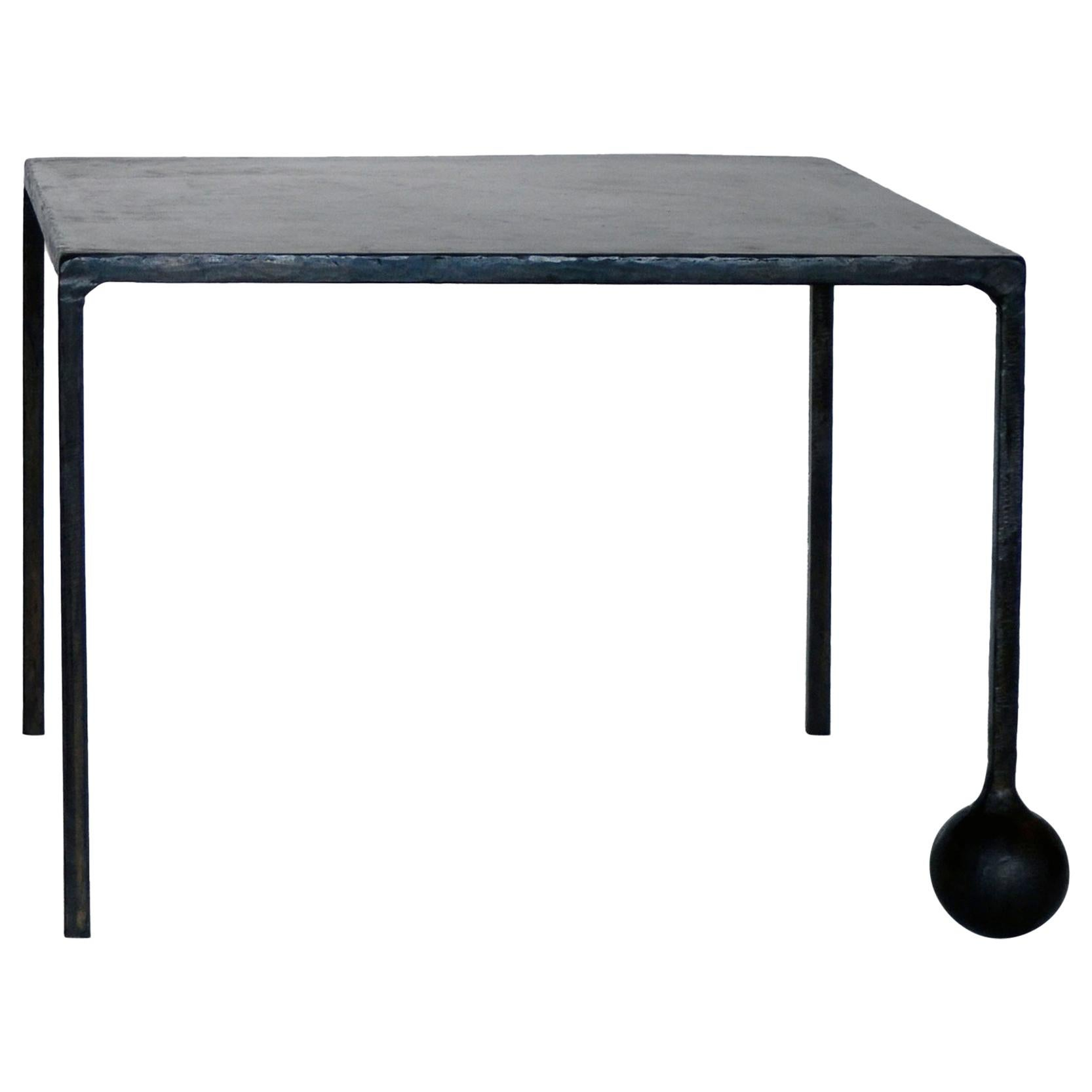 End/Side Table Modern Geometric Handmade Carved Blackened Waxed Steel Minimalist