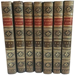 Set of 7 Antique All Leather Volumes of Darblay's Diary