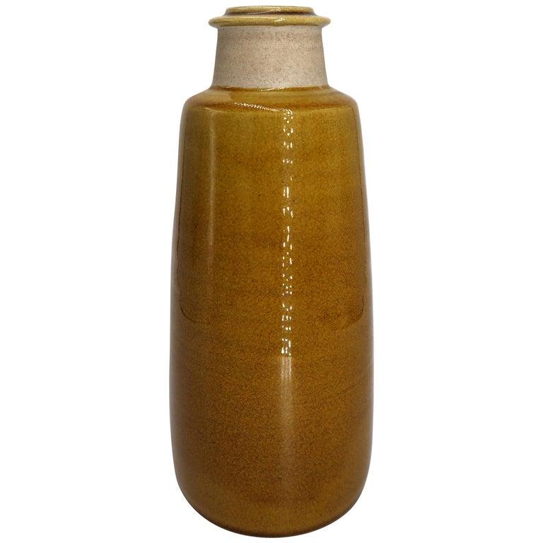 Beautiful Danish Kähler Handmade Ceramic Ochre Glazed Vase, 1950s For Sale