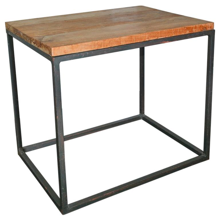 Metal Frame Geometric Cube Table