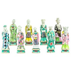 Chinese Export Set of Nine Porcelain Figures, Eight Immortals and Shou Lao