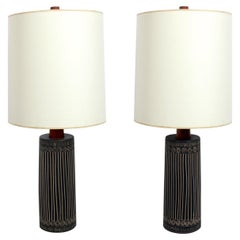 Ceramic and Walnut Lamps by Gordon and Jane Martz