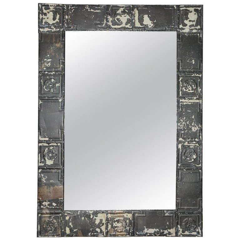 Industrial Style Tin Ceiling Tile Mirror For Sale