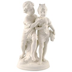 Classic Sculpture in Biscuit on Base, Gustafsberg, Dated 1910, Siblings