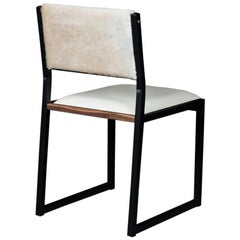 Shaker Modern Chair by Ambrozia, Walnut, Black Steel, Bone Leather & Cow Hide