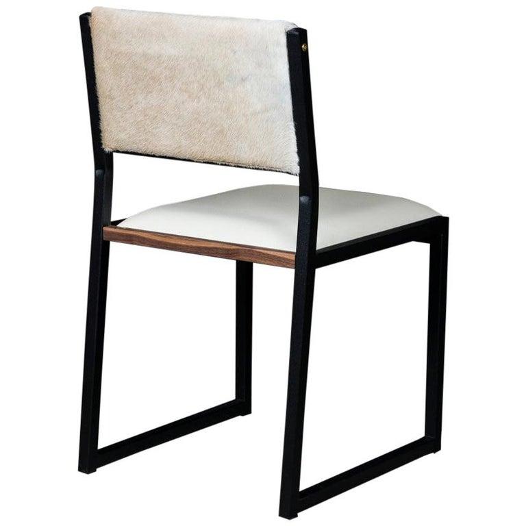 Shaker Modern Chair by Ambrozia, Walnut, Black Steel, Bone Leather & Cow Hide For Sale