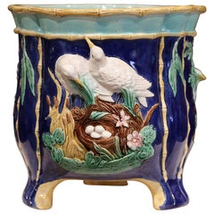 19th Century French Hand Painted Ceramic Barbotine Cache Pot with Bird Decor