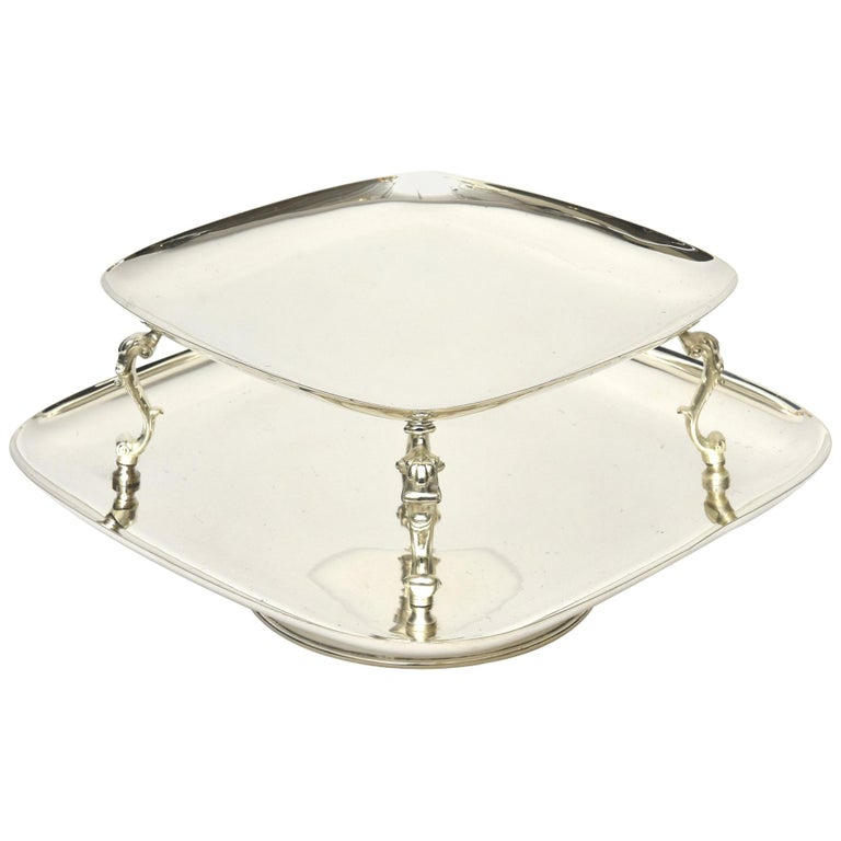 2-Tiered Swivel Silver Plate Serving Caddy or Serving Piece For Sale