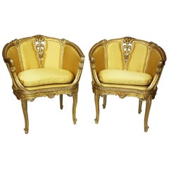 Pair of French Belle Époque Louis XV Style GiltWood Carved Bergère Armchairs