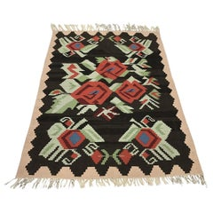 1970 Turkish Floral Wool Ghelim Rug