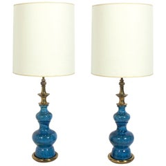 Pair of Vibrant Blue Ceramic Lamps by Stiffel