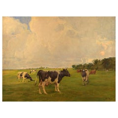 Harald Kjær, Danish Artist. Field Landscape with Grazing Cows